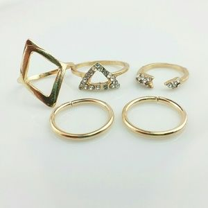 NEW 5 Piece Golden Stack Ring Set